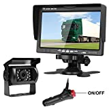 "Emmako Backup Camera and 7"" Display Monitor Kit for Truck/RV/Campers/Trailer/Motorhome Waterproof Night Vision Rear View Camera System Wire Single Power for Rear View/Constantly View Optional Review"