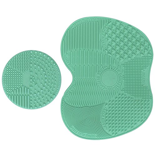 Makeup Brush Cleaning Mat, ESARORA Makeup Brush Cleaner Pad Set of 2 Cosmetic Brush Cleaning Mat Portable Washing Tool Scrubber Suction Cup (Green)