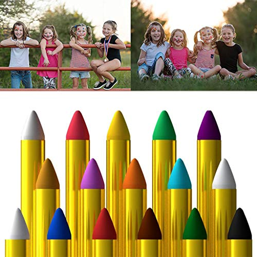 Church Halloween Event (Nesee Face Paint Crayon 16 Colors with Gold and Silver Face Painting Sticks for Kids Washable Twistable Crayons Kit for Kids Face Hair Body Paint Water Based Non-Toxic Set Halloween)