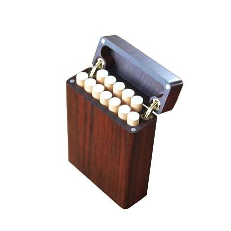 YXHUI Estuche de Cigarrillos de Madera de Pera roja, Estuche ...