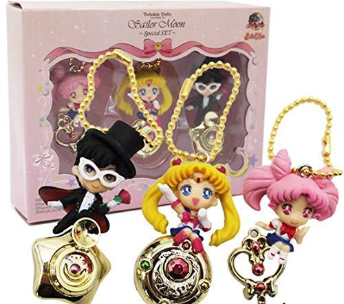 Allegro Huyer Sailor Moon Tsukino Usagi Chibi USA Tuxedo mask Chiba Mamoru PVC Figures Toys Pendants Keychains 3pcs/Set 5cm