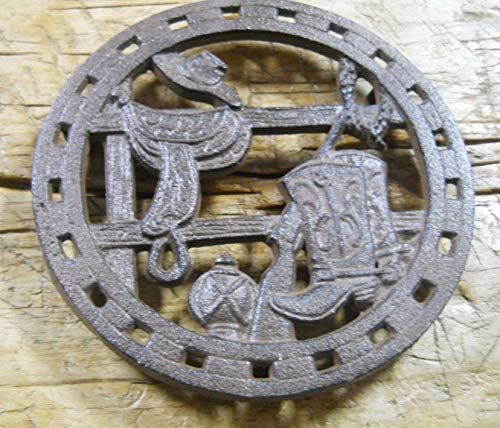 Home Decor Cast Iron Round Cowboy Boots HAT Saddle Plaque Sign Rustic Ranch Trivet Perfect for Your Farmhouse
