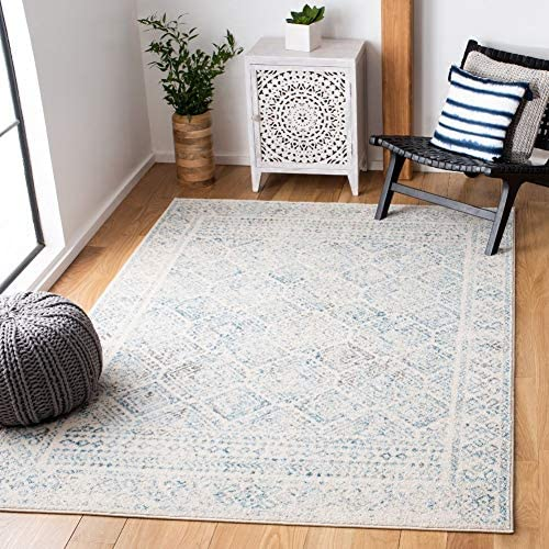 Safavieh Tulum Collection TUL264B Boho Moroccan Distressed Area Rug, 9 x 12 , Ivory Turquoise