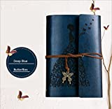 Tyjtyrjty PU Loose Spiral A6 Notebook Writing Journal Notebook,Retro Vintage Notebook Diary Sketchbook with Unlined Travel Journals to Write in for Girls Notepad Guest Book (Deep-blue)
