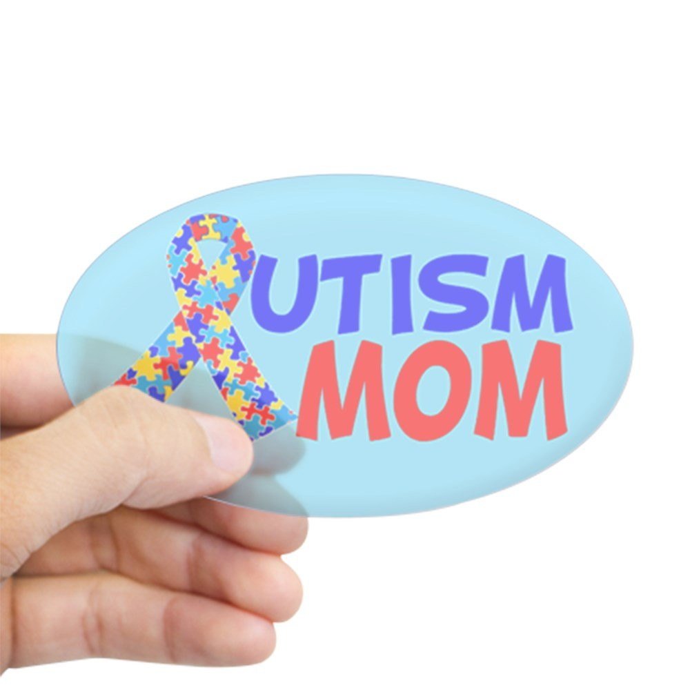 Amazon com cafepress autism mom sticker oval oval bumper sticker euro oval car decal home kitchen