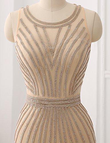 mit Partei Abendkleid Shinning Farbe Erosebridal Tulle Formales Gelegenheit Spitze Langes Kristall Gary fqc56wR5