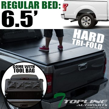 Topline Autopart Solid Tri Fold Hard Truck Bed Tonneau Cover With Tool Bag For 15-18 Ford F150 Regular ( Standard ) / Super ( Extended ) / Super Crew ( Crew ) Cab 6.5 Feet ( 78
