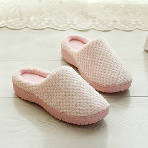 wyhweilong Men's Women's Anti-Slip House Slippers Indoor Shoes Pink I309H