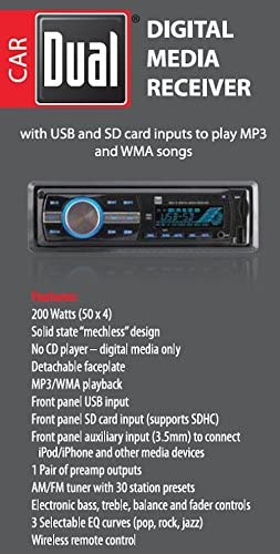 MP3 /& WMA Player SD Card Dual Electronics XR4115 Multimedia Detachable Mechless LCD High Resolution Single DIN Car Stereo Receiver with Built-In USB