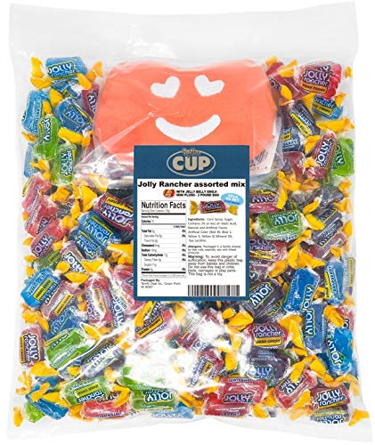 Jolly Rancher Bulk Hard Candy Mix 3 Pound Individually Wrapped Assorted - with 1 Jelly Bean Emoji Mini Plush Toy