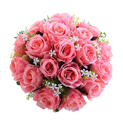 Ymout Rose Bouquet 18 Heads Artificial Roses Wedding Bridal Bridesmaid Hydrangea (Hot Pink,Free Size)