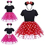FYMNSI Baby Girls Polka Dots Tulle Spliced Ballet Dress with Bowknot Headband Birthday Party Princess Tutu Dress 1-6T