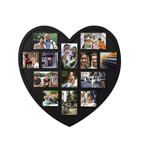 Adeco Decorative Black Polypropylene Heart-Shaped Wall Hanging Picture Photo Frame,