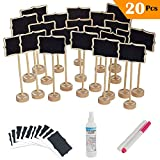 20 Pcs Mini Rectangle Chalkboard with Stand for Message Board Signs