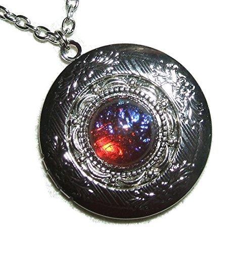 - DRAGONS BREATH LOCKET NECKLACE Silver Pltd Pendant CZECH GLASS MEXICAN OPAL