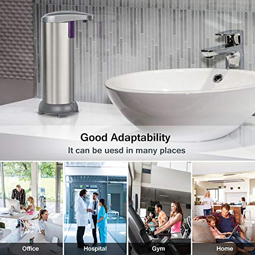 Zipu Battery Operated Waterproof Automatic Soap Dispenser Touchless,with On/Off Switch and Adjustable Soap Dispenser Output Switch