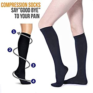 7 Pairs Compression Socks For Women and Men -- Best Athletic, Edema, Diabetic,Varicose Veins,Maternity,Travel,Flight Socks ,Shin Splints - Below Knee High (Large/X-Large, Black)