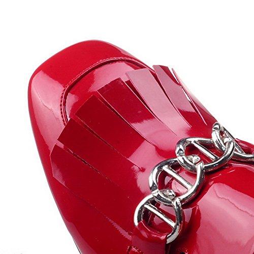 AllhqFashion Mujer Pu Tacón Medio Puntera Cuadrada Puntera Cerrada Tachonado Sin cordones De salón Rojo