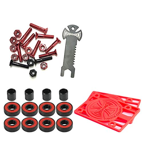 (Independent Trucks Skateboard Hardware Blk/Red + Tool + Risers + ABEC 5 Bearings)
