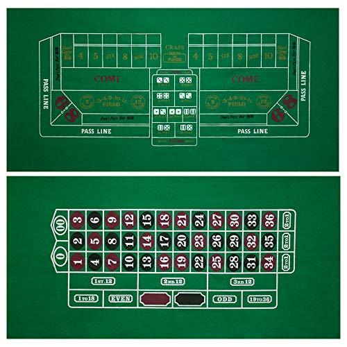 GSE Games & Sports Expert 36x72-Inch Blackjack/Craps/Roulette/Texas Holdem/Baccarat Casino Table Top Felt Layout Mat (Craps & -