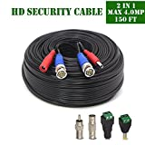 OOSSXX 165 Feet(50 meters) pro-made 2-In-1 Siamese Video/Power Cable with Two Female BNC to RCA Connectors and Female/Male Power Connectors for Video Security Systems(Black)