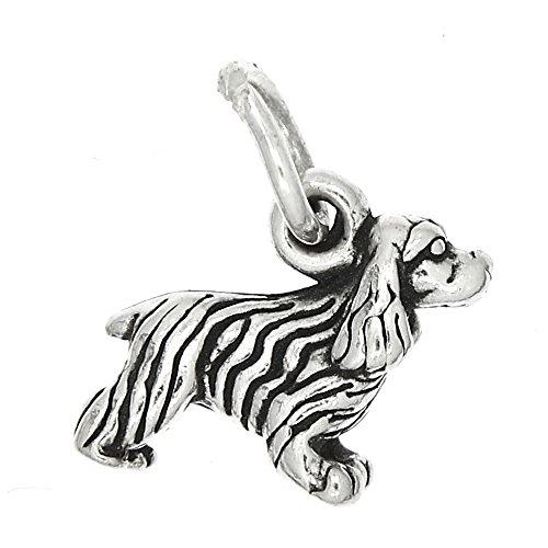 Lgu Sterling Silver Oxidized Tiny American Cocker Spaniel Dog Charm or Pendant