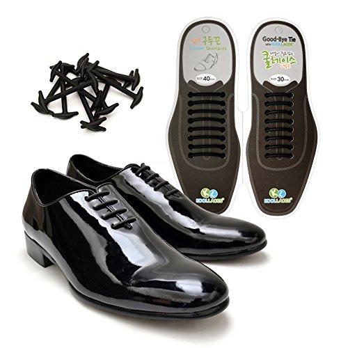 Koollaces No Tie Elastic Slip on Dress Shoelaces, Silicone Shoelaces Patented Anchor Type (16pcs Black)
