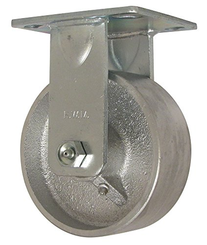 """RWM Casters 46 Series Plate Caster, Rigid, Cast Iron Wheel, Roller Bearing, 1000 lbs Capacity, 5"""" Wheel Dia, 2"""" Wheel Width, 6-1/2"""" Mount Height, 4-1/2"""" Plate Length, 4"""" Plate Width from RWM Casters"""