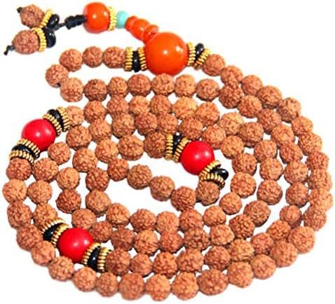 Healifty Buddhism Prayer Beads Bracelet Rudraksha 108 Beads Necklace Buddhism Prayer Beads Wrist Wrap Bracelet for Women Men (Random Color of Beads)