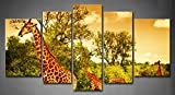 First Wall Art - 5 Panel Wall Art Yellow Orange A South African Giraffes Big Family Graze In The Wild Fores Eating Leafs Grass Small Road Painting Pictures Print On Canvas Animal The Picture For Home Modern Decoration piece (Stretched By Wooden Frame,Read