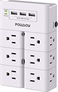 Multi Plug Outlet, Outlet expanders, POWSAV Surge Protector Wall Mount with 12-Outlet Extender and 3 USB Ports(Smart 3.4A Total) for Home, Office, Dorm Essentials, Hotel, White, ETL Listed