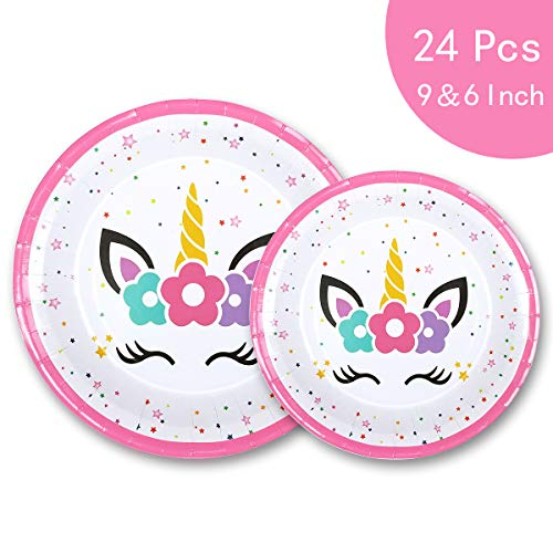Plate Theme Paper 9' (Unicorn Plates Party Supplies Theme - Magical Pink Set - Happy Birthday Disposable Paper Cake Dessert Big Plates - for Adult First Girls Kids Baby Shower - 6