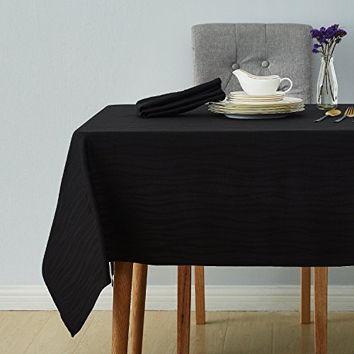 Deconovo Decorative Jacquard Tablecloth Wrinkle and Water Resistant Spill-Proof Rectangle Tablecloths Vibrant Waves for Kitchen 54 x 72 inch Black