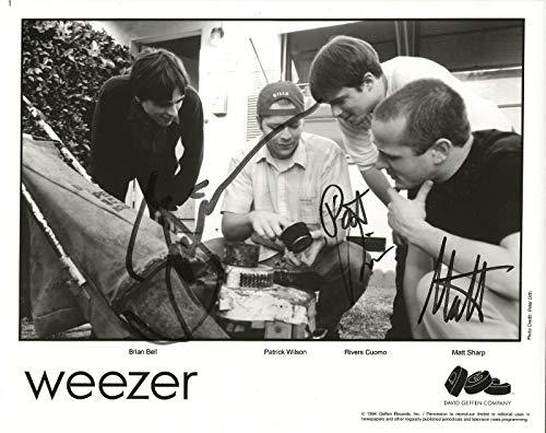WEEZER REAL hand SIGNED 1994 Promo Photo COA Rivers Cuomo Matt Sharp +2 (Weezer Signed)