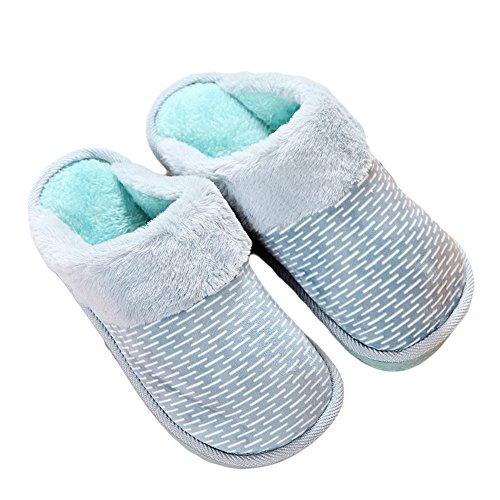Ciabatta Donna Inverno Banda Comfort Peluche Caldo Pantofola Suola Morbida Antiscivolo Blu