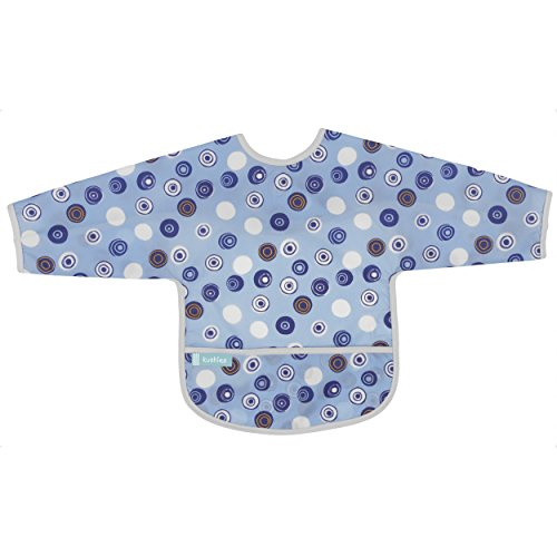 (Kushies Cleanbib Waterproof Feeding Bib with Sleeves and Catch All/Crumb Catcher pocket. Wipe clean and reuse! Lightweight for comfort, Baby Boys, 12-24 Months, Blue Crazy Circles)