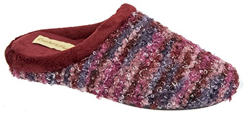 Ladies Coolers Red Multicolour Fleece Lined Mule Slippers