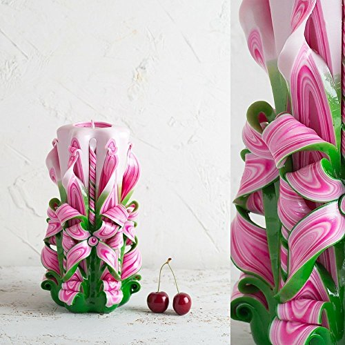 Candle Handmade Carved Decorative - Pink Green and White - Birthday Women Gift Ideas - (Homemade Halloween Gift Basket Ideas)