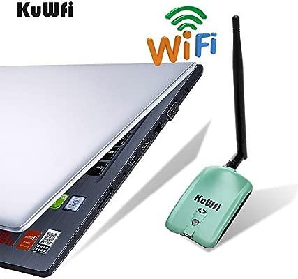 KuWFi Adaptador de WiFi, 150 Mbps Adaptador de red inalámbrico WiFi Ralink3070L con 5dBi Antena Adaptador de largo alcance Tarjeta de red inalámbrica ...