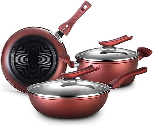 3 Pieces Induction Pan Set Non Stick Saucepan Set Kitchen Cookware Pot Gas Hobs