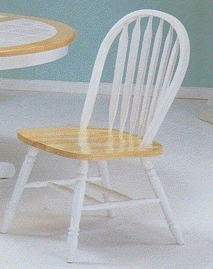 Chair Arrow Wood Natural (Set of 4 Natural & White Finish Wood Arrow Back Windsor Dining Chairs by Acme Furniture)