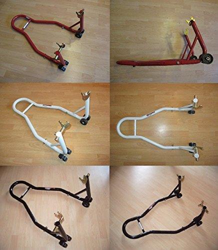 Montageständer Motorradständer Motorradheber hinten mit Gabelaufnahme und Breitenverstellung in rot, weiss oder schwarz