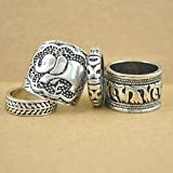4Pcs Set Fashion Noble Retro Silver Plated Boho Womens Elephant Finger Punk Ring LOVE STORY