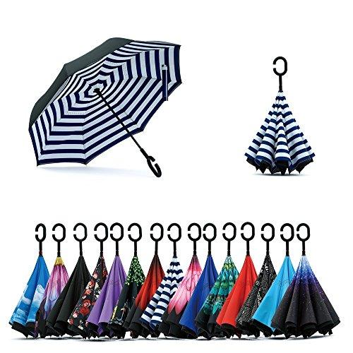 Jooayou Double Layer Inverted Umbrella, C Shape Handle Reverse Folding...