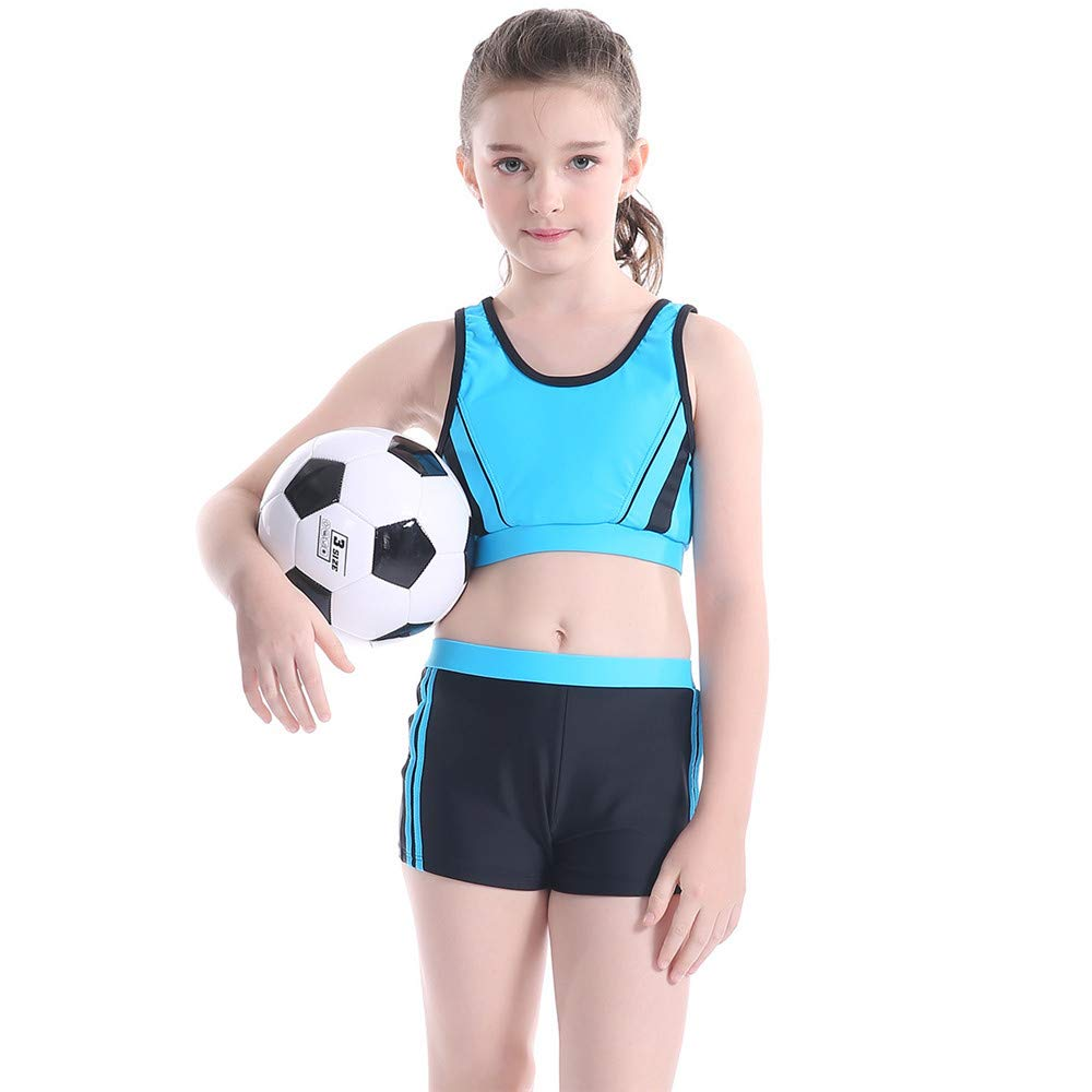 Girls Swimwear Professional Competitive Sports Swimsuit 2 Pieces Bikini Set 5-12 Years Quick Drying Girls Gift (Color : Blue, Size : 128) yishelle