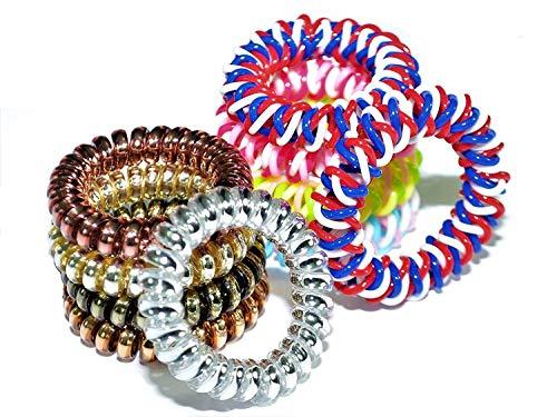 Spiral Hair Ties with bonus American Flag colors - 10 pieces,Metallic Hair Ties, Multi Color Hair Ties, Hair ties for girls and womens