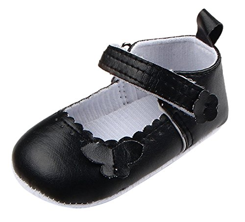 Happy Cherry Baby Mädchen Schuhe Rutschfeste Lauflernschuhe PU-Leder Sneaker Krabbelschuhe Weiche Sohle Neugeborene Schuhe für 3-11 Monate Schwarz