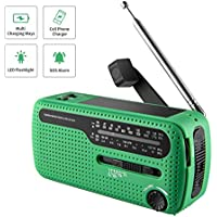 NOAA Weather Radio Hand Crank Solar Emergency Alert Radio with WB/AM/FM, Cell Phone Charger/LED Flashlight and SOS Siren Song and Light Alarm for Indoor Outdoor Use