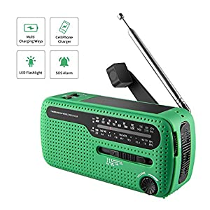513Gxs177qL. SS300  - NOAA Weather Radio Hand Crank Solar Emergency Alert Radio with WB/AM/FM, Cell Phone Charger/LED Flashlight and SOS Siren Song and Light Alarm for Indoor Outdoor Use