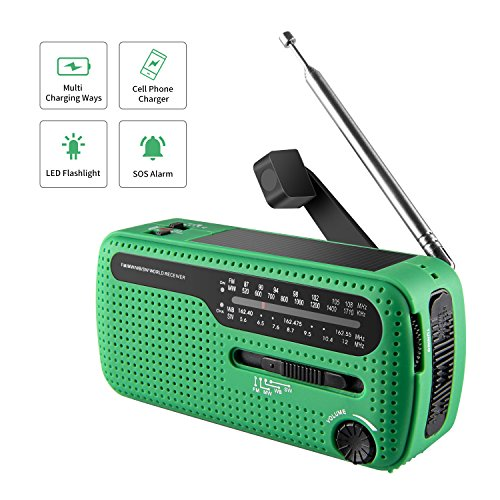 513Gxs177qL - NOAA Weather Radio Hand Crank Solar Emergency Alert Radio with WB/AM/FM, Cell Phone Charger/LED Flashlight and SOS Siren Song and Light Alarm for Indoor Outdoor Use
